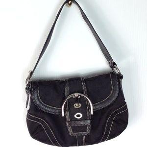 Coach black signature shoulder handbag